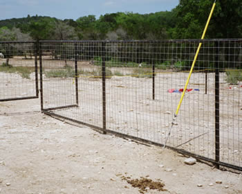 Cattle panel fence with black steel posts